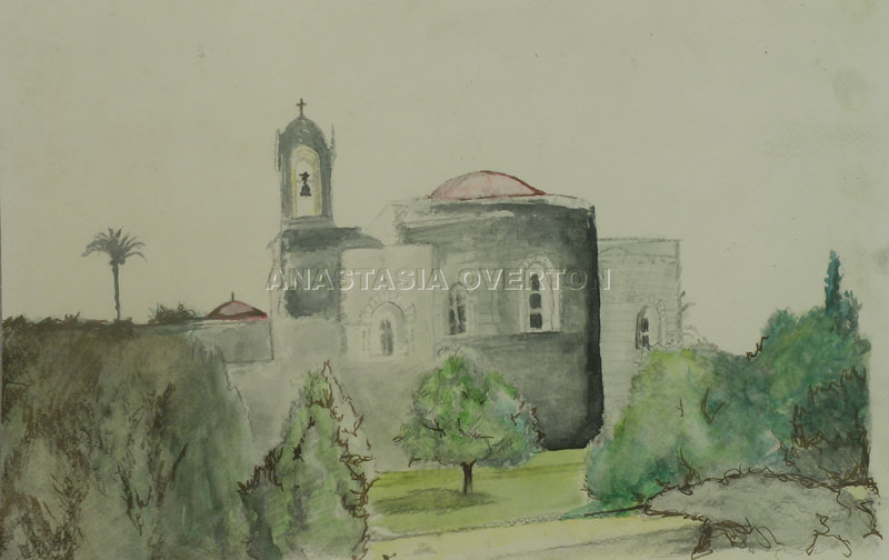 """Palace at Lebanon"" watercolor by Anastasia Overton"